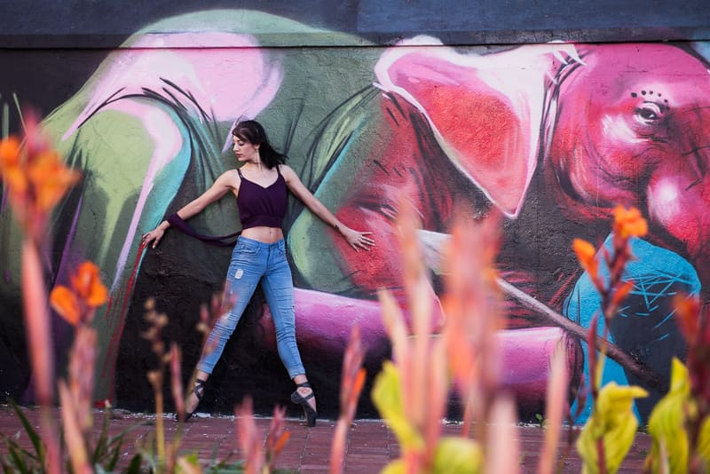 Urban ballet dancer photo shoot